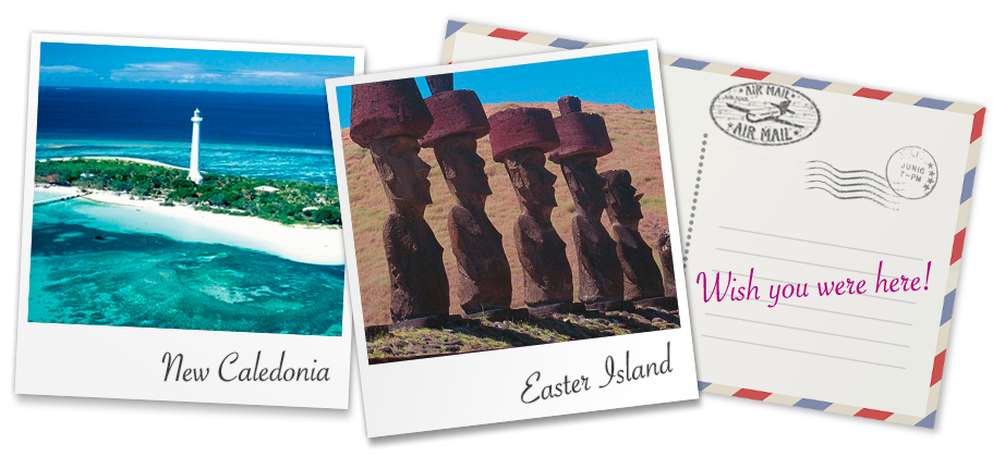 Explore the ancient ruins of Easter island or the colonial grandeur or New Caledonia
